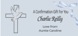 Confirmation Gift Wallet Blue Dove & Cross Design